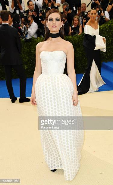Lily James attends 'Rei Kawakubo/Comme des Garcons Art Of The InBetween' Costume Institute Gala at Metropolitan Museum of Art on May 1 2017 in New...