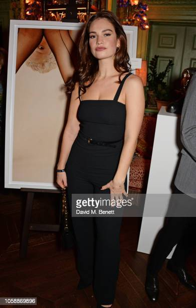 Lily James attends the Annabel's Art Auction fundraiser in aid of Teenage Cancer Trust Teen Cancer America at Annabel's on November 7 2018 in London...