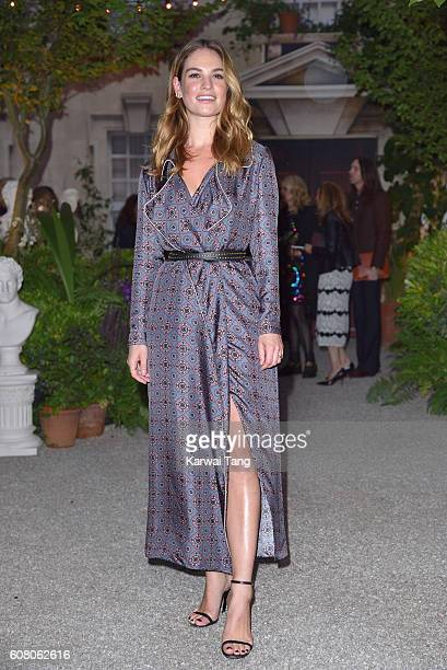 Lily James attends the Burberry show during London Fashion Week Spring/Summer collections 2016/2017 at Makers House on September 19, 2016 in London,...