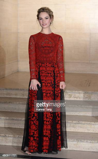 Lily James attends the Changing Faces Gala Dinner held at Bloomsbury Ballroom on March 27 2014 in London England