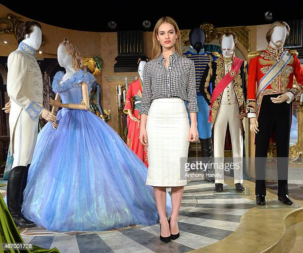 Lily James attends the Cinderella Exhibition Photocall at Leicester Square on March 20 2015 in London England