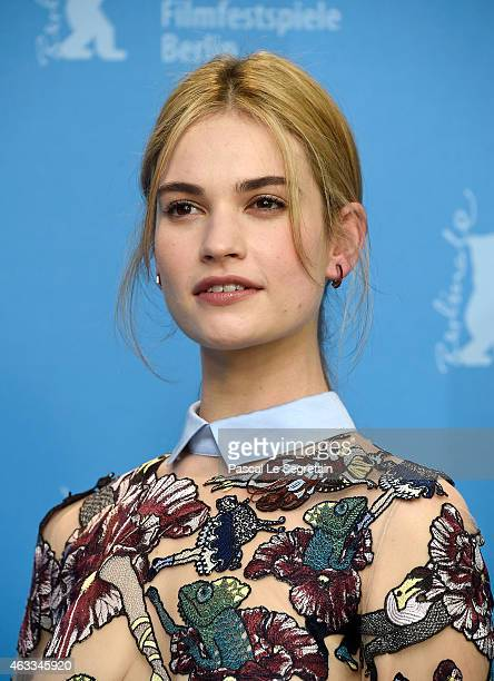 Lily James attends the 'Cinderella' photocall during the 65th Berlinale International Film Festival at Grand Hyatt Hotel on February 13, 2015 in...