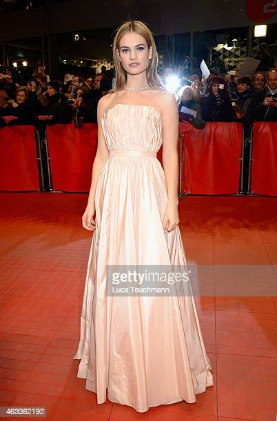 Lily James attends the 'Cinderella' premiere during the 65th Berlinale International Film Festival at Berlinale Palace on February 13, 2015 in...