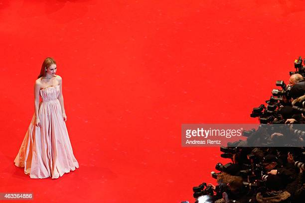 Lily James attends the 'Cinderella' premiere during the 65th Berlinale International Film Festival at Berlinale Palace on February 13 2015 in Berlin...