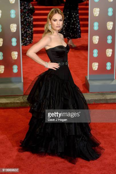 Lily James attends the EE British Academy Film Awards held at Royal Albert Hall on February 18 2018 in London England