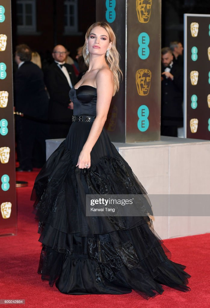 Lily James attends the EE British Academy Film Awards (BAFTAs) held at the Royal Albert Hall on February 18, 2018 in London, England.