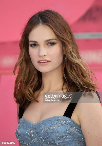 Lily James attends the European premiere of 'Baby Driver' on June 21 2017 in London United Kingdom