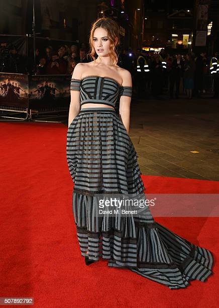 """Lily James attends the European Premiere of """"Pride And Prejudice And Zombies"""" at the Vue West End on February 1, 2016 in London, England."""