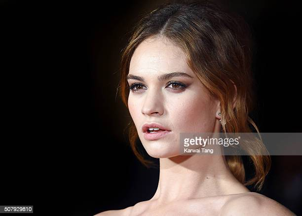 Lily James attends the European premiere of 'Pride And Prejudice And Zombies' at the Vue West End on February 1 2016 in London England