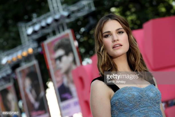 """Lily James attends the European Premiere of Sony Pictures """"Baby Driver"""" on June 21, 2017 in London, England."""