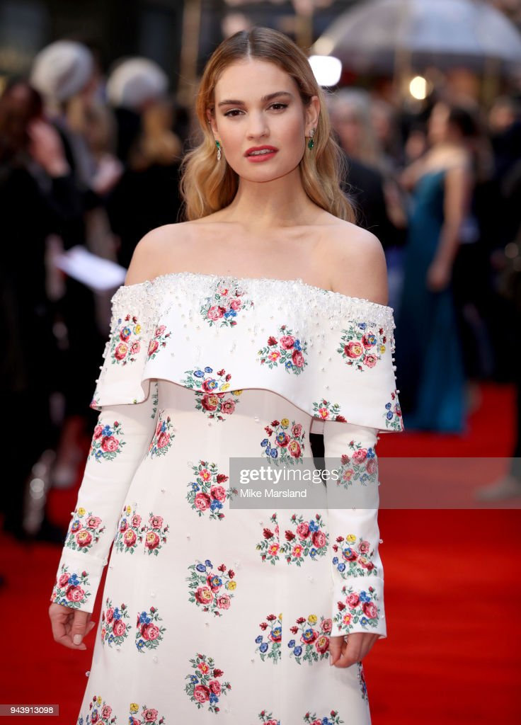 Lily James attends 'The Guernsey Literary And Potato Peel Pie Society' World Premiere at The Curzon Mayfair on April 9, 2018 in London, England.