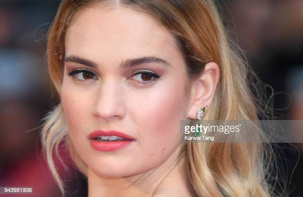 Lily James attends 'The Guernsey Literary And Potato Peel Pie Society' World Premiere at The Curzon Mayfair on April 9 2018 in London England