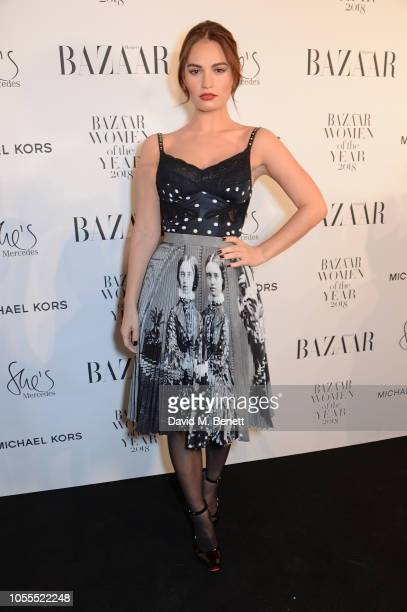 Lily James attends the Harper's Bazaar Women Of The Year Awards 2018 in partnership with Michael Kors and MercedesBenz at Claridge's Hotel on October...