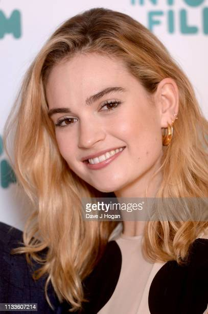 Lily James attends the Into Film Award 2019 at Odeon Luxe Leicester Square on March 04 2019 in London England