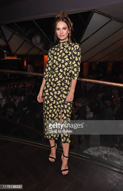 """Lily James attends the launch of the MR PORTER charitable fund """"The MR PORTER Health In Mind Fund"""" at Quaglino's on October 10, 2019 in London,..."""
