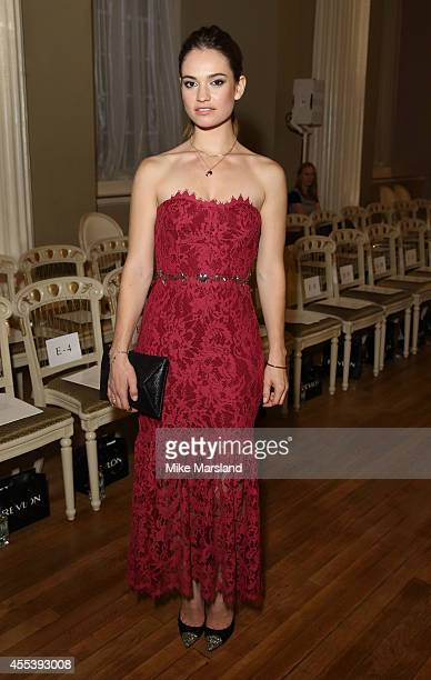 Lily James attends the Marchesa show during London Fashion Week Spring Summer 2015 on September 13 2014 in London England