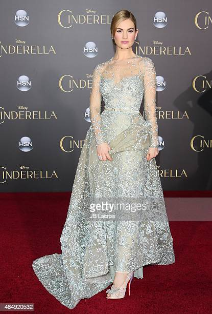 Lily James attends the premiere of Disney's 'Cinderella' at the El Capitan Theatre on March 1, 2015 in Hollywood, California.