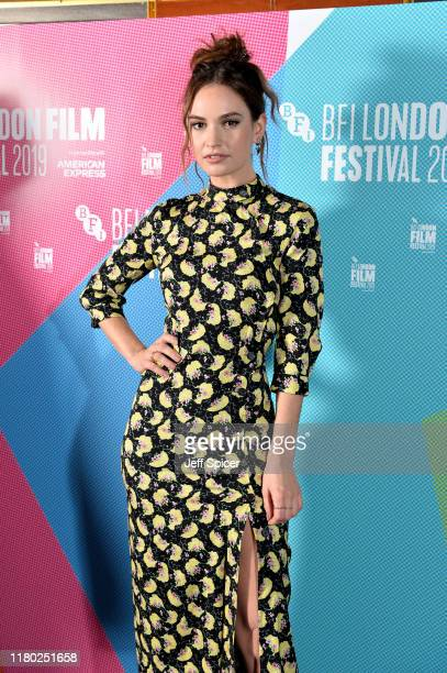 """Lily James attends the """"Rare Beasts"""" UK Premiere during the 63rd BFI London Film Festival at The Curzon Mayfair on October 10, 2019 in London,..."""