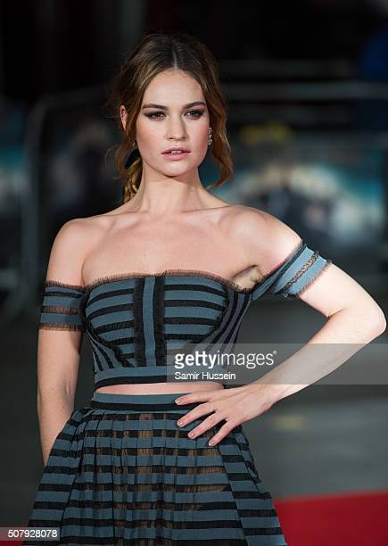 Lily James attends the red carpet for the European premiere for 'Pride And Prejudice And Zombies' on at Vue West End on February 1 2016 in London...