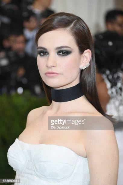 Lily James attends the 'Rei Kawakubo/Comme des Garcons Art Of The InBetween' Costume Institute Gala at Metropolitan Museum of Art on May 1 2017 in...