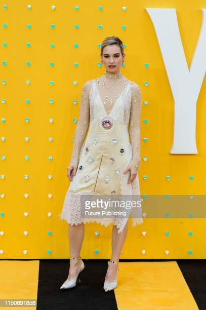 Lily James attends the UK film premiere of 'Yesterday' at the Odeon Luxe Leicester Square on 18 June 2019 in London England