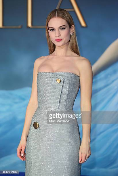 """Lily James attends the UK Premiere of """"Cinderella"""" at Odeon Leicester Square on March 19, 2015 in London, England."""
