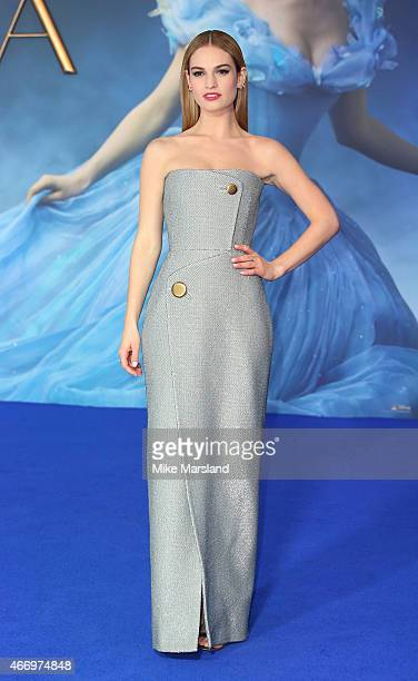 Lily James attends the UK Premiere of 'Cinderella' at Odeon Leicester Square on March 19 2015 in London England