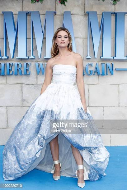 Lily James attends the UK Premiere of Mamma Mia Here We Go Again at Eventim Apollo on July 16 2018 in London England