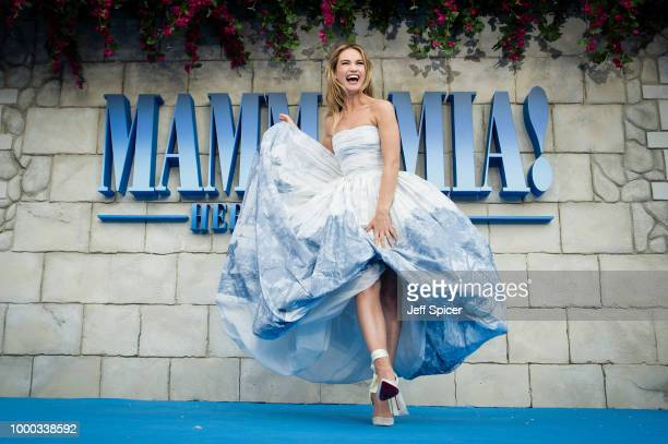 Lily James attends the UK Premiere of 'Mamma Mia Here We Go Again' at Eventim Apollo on July 16 2018 in London England