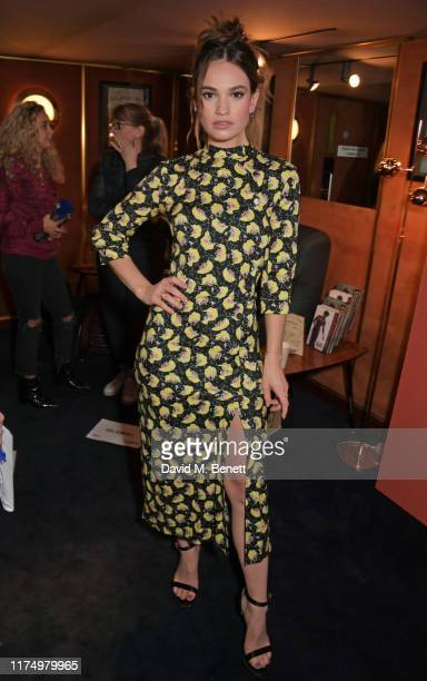 """Lily James attends the UK Premiere of """"Rare Beasts"""" during the 63rd BFI London Film Festival at The Curzon Mayfair on October 10, 2019 in London,..."""