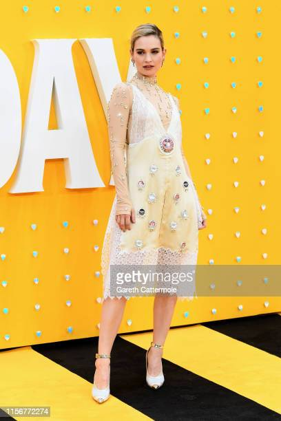 Lily James attends the UK Premiere of Yesterday at Odeon Luxe Leicester Square on June 18 2019 in London England