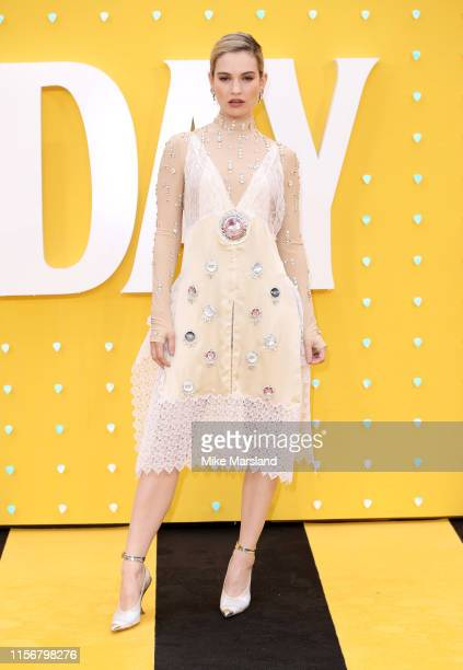 "Lily James attends the UK Premiere of ""Yesterday"" at Odeon Luxe Leicester Square on June 18, 2019 in London, England."