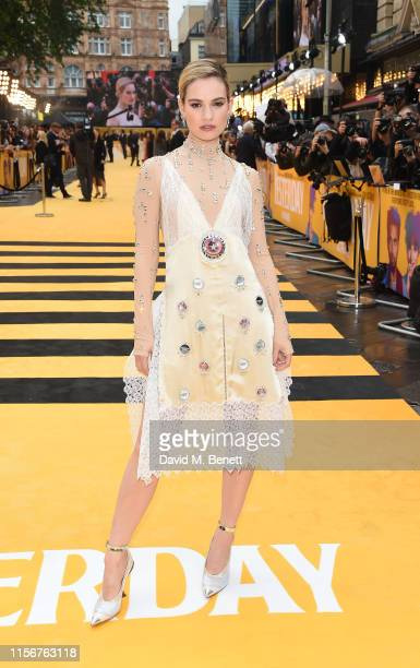 Lily James attends the UK Premiere of Yesterday at the Odeon Luxe Leicester Square on June 18 2019 in London England