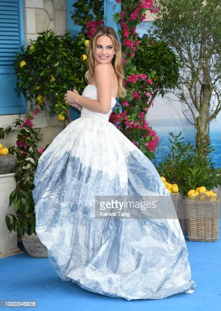 Lily James attends the World Premiere of 'Mamma Mia Here We Go Again' at Eventim Apollo on July 16 2018 in London England
