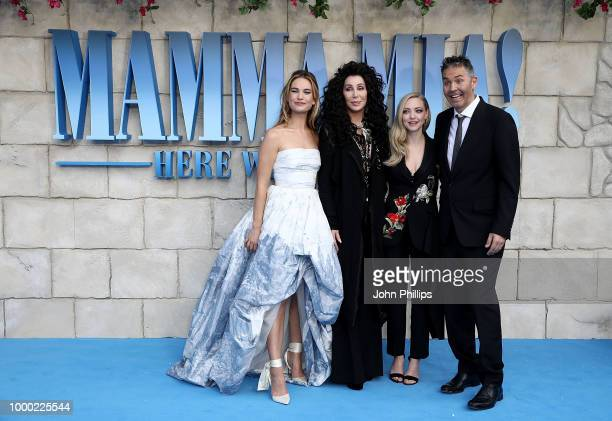 Lily James Cher Amanda Seyfried and Ol Parker attend the UK Premiere of Mamma Mia Here We Go Again at Eventim Apollo on July 16 2018 in London England