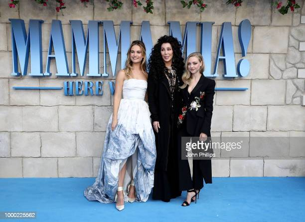 Lily James Cher and Amanda Seyfried attend the UK Premiere of Mamma Mia Here We Go Again at Eventim Apollo on July 16 2018 in London England