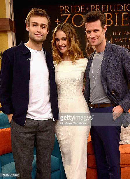 Lily James Douglas Booth and Matt Smith are seen during on the set of Univision's Despierta America to promote the film Pride and Prejudice and...