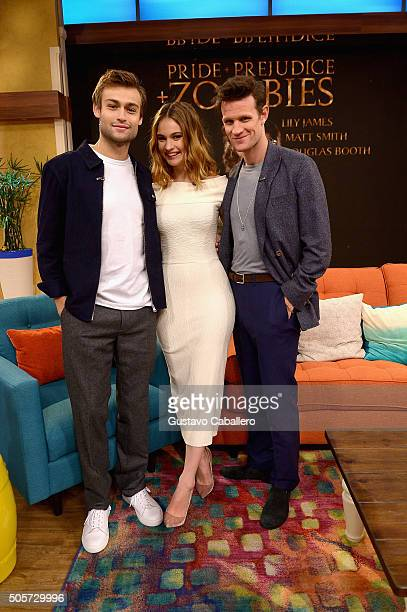Lily James Douglas Booth and Matt Smith are seen during on the set of Univision's 'Despierta America' to promote the film 'Pride and Prejudice and...