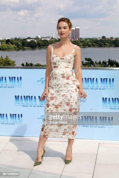 Lily James during the Mamma Mia Here we go again' Musical Photo Call on July 12 2018 in Hamburg Germany