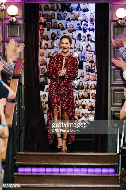 Lily James greets the audience during 'The Late Late Show with James Corden' Tuesday June 13 2017 On The CBS Television Network
