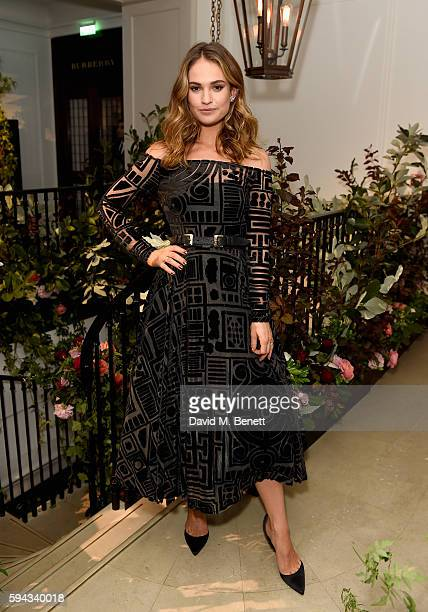 Lily James hosts an event to celebrate the launch of My Burberry Black at Burberry's all day cafe Thomas's on August 22 2016 in London England