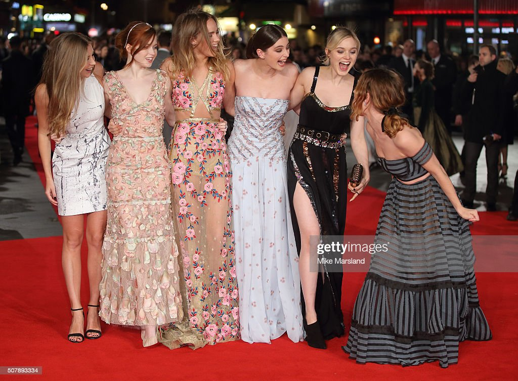 Lily James, Millie Brady, Suki Waterhouse, Ellie Bamber and Bella Heathcote attend the red carpet for the European premiere for 'Pride And Prejudice And Zombies' on at Vue West End on February 1, 2016 in London, England.