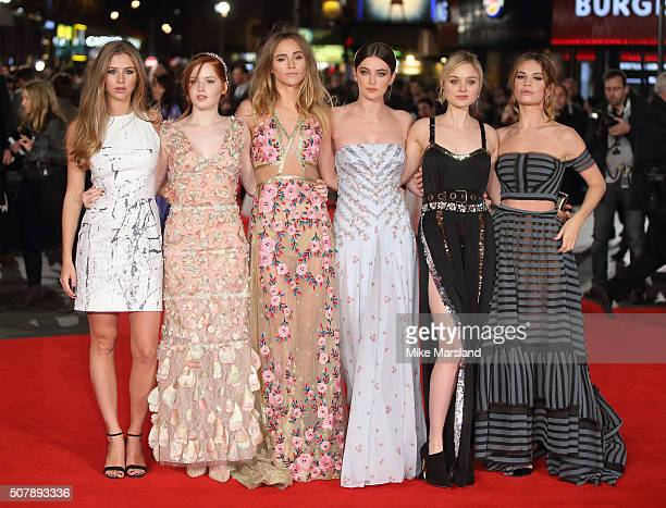 Lily James Millie Brady Suki Waterhouse Ellie Bamber and Bella Heathcote attend the red carpet for the European premiere for 'Pride And Prejudice And...