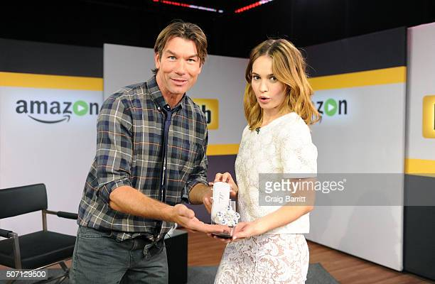 Lily James on the set of her live IMDb Asks interview with Jerry O'Connell on January 27 2016 in New York City