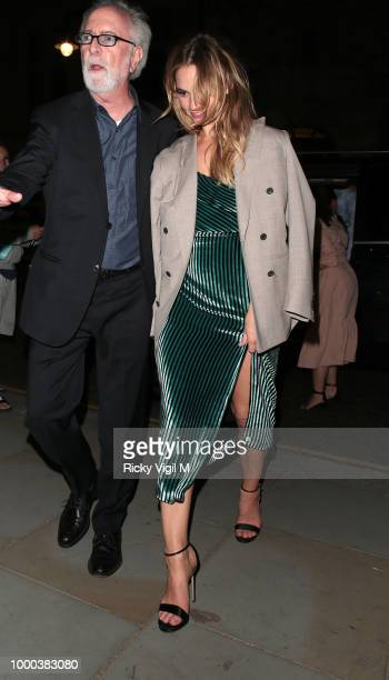 Lily James seen arriving at her hotel after attending Mamma Mia Here We Go Again UK film premiere afterparty at Hammersmith Apollo on July 16 2018 in...