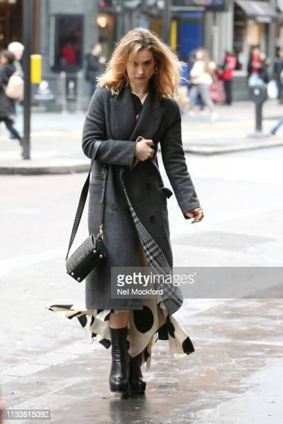Lily James seen arriving at the Noel Coward Theatre where she is starring in All About Eve on March 04 2019 in London England
