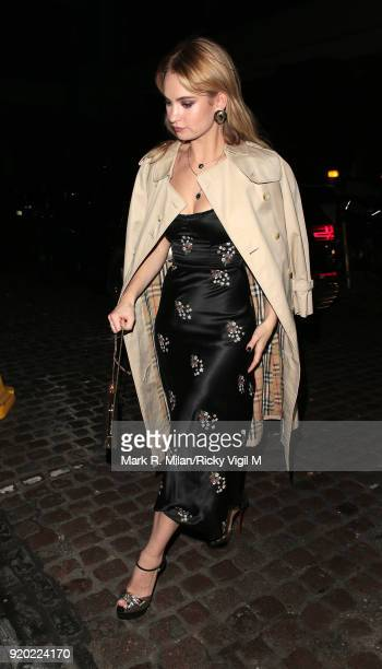 Lily James seen at Universal and Working Title BAFTAs afterparty at Chiltern Firehouse after attending the EE British Academy Film Awards at the...