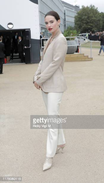 Lily James seen attending Burberry catwalk show held at Troubadour White City City Theatre during LFW September 2019 on September 16 2019 in London...