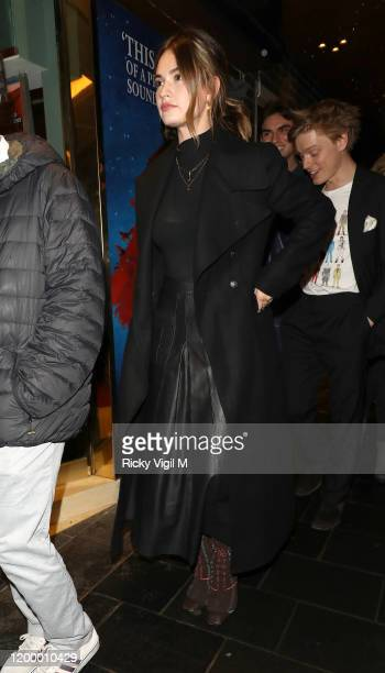 Lily James seen attending the reopening of Les Miserables in the West End on January 16 2020 in London England
