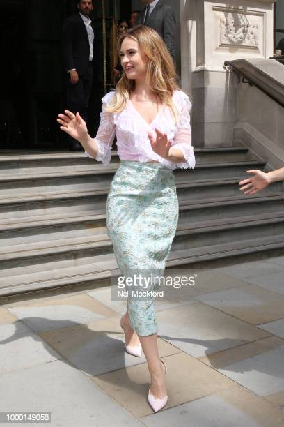 Lily James seen leaving her hotel on July 16 2018 in London England